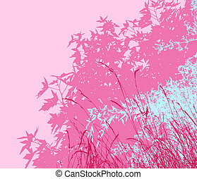 Colored landscape of foliage - Vector illustration - pink morningThe different graphics are on separate layers so they can easily be moved or edited individually