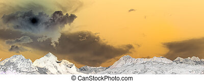 colored landscape with the last sun in the rop of the mountains