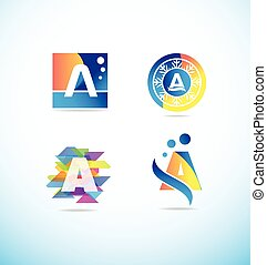 Colored letter A logo icon set