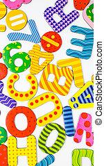 Colored letters amalgam in white background