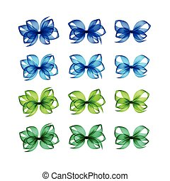 Colored Light Blue Green Emerald Gift Bows Different Shapes