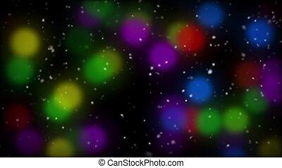 Colored Lights and Snowfall
