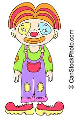colored line art drawing of circus theme - clown