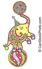 colored line art drawing of circus theme - elephant balancing on