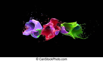 Colored liquidsd explodes into splashes over black background with alpha channel, slowmotion. Pro Res 422 codec