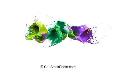 Colored liquidsd explodes into splashes over white background with alpha channel, slowmotion.
