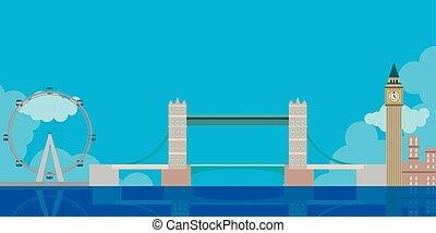 Colored London cityscape