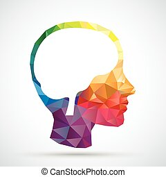 Colored Low Poly Human Head Brain - Colored low poly human...