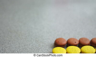 colored macaroon biscuits on the table