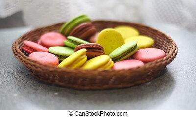 colored macaroon cookies falls
