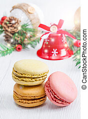 colored macaroon with christmas background