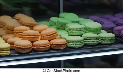 Colored macaroons bakery closeup camera movement