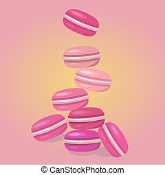 Colored macaroons on a pink background. Food flat