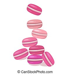 Colored macaroons on a white background. Food flat