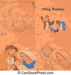 Colored manger illustration