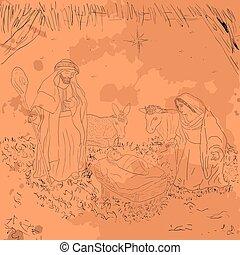 Colored manger illustration - Colored manger for christmas...