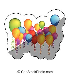 colored many party balloon with serpentine icon
