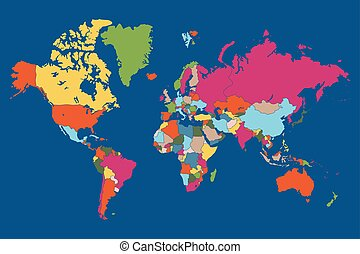 World map with countries borders global business background clipart colored map of world with countries borders vector iilustration gumiabroncs Images