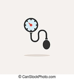 Colored medical tonometer icon on a white background. Blood pressure check