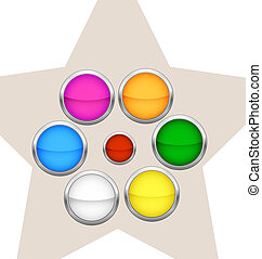 colored metalic circle buttons set isolated