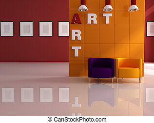 colored armchair in a modern art gallery - rendering