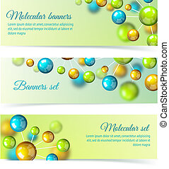 Colored molecule banners 3d set