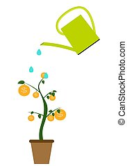 Colored Money Tree, Dependence of Financial Growth Flat Concept. Vector Illustration.
