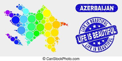 Colored Mosaic Azerbaijan Map and Grunge Life Is Beautiful Stamp Seal