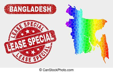 Colored Mosaic Bangladesh Map and Scratched Lease Special Stamp Seal
