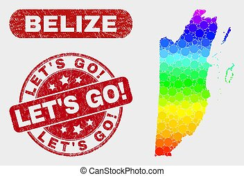 Colored Mosaic Belize Map and Distress Let'S Go! Seal