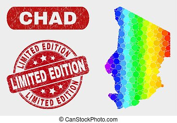 Colored Mosaic Chad Map and Grunge Limited Edition Stamp Seal