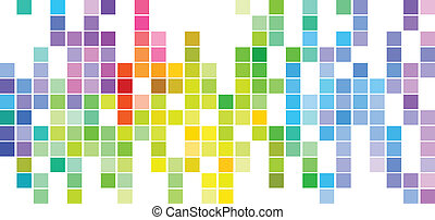 Colored Mosaic - Abstract Mosaic Rainbow Colored Rectangles...