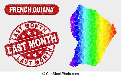 Colored Mosaic French Guiana Map and Scratched Last Month Stamp