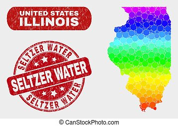 Colored Mosaic Illinois State Map and Scratched Seltzer Water Stamp Seal