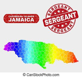 Colored Mosaic Jamaica Map and Distress Sergeant Seal