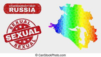 Colored Mosaic Krasnodarskiy Kray Map and Distress Sexual ...