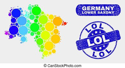 Colored Mosaic Lower Saxony Land Map and Grunge Lol Stamp Seal