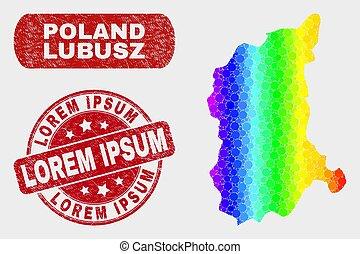 Colored Mosaic Lubusz Voivodeship Map and Grunge Lorem Ipsum...