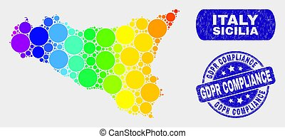 Colored Mosaic Sicilia Map and Grunge Gdpr Compliance Stamp Seal