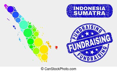 Colored Mosaic Sumatra Map and Scratched Fundraising Stamp Seal