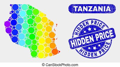 Colored Mosaic Tanzania Map and Scratched Hidden Price Seal