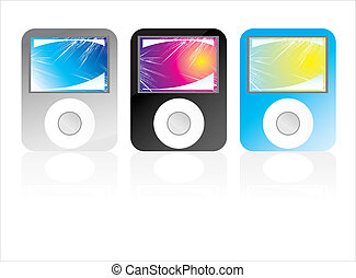 mp3 players - colored mp3 players with fantasy abstract...
