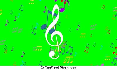 Colored music animation on green screen. Flying colorful...