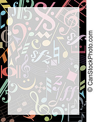 COLORED MUSIC NOTES - Background with colored music signs on...