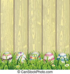 Colored Nature Easter Eggs Grass Yellow Wood