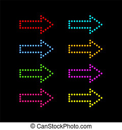 Colored neon arrows on a black background.