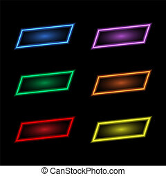 Colored neon banners on a black background.