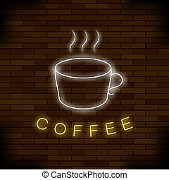 Colored Neon Coffee Cup. Night City Banner