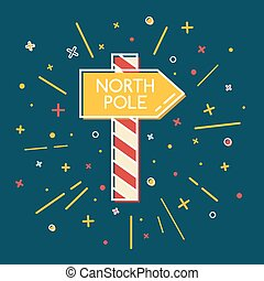 Colored North Pole waypost icon in thin line style