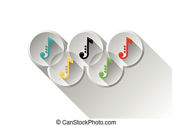 Colored note icons in olimpic rings. Music symbols. Vector...